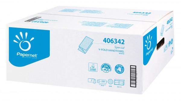 Handtuchpapier weiß, V-Falz, 2-lagig, 24 x 23 cm - 406342