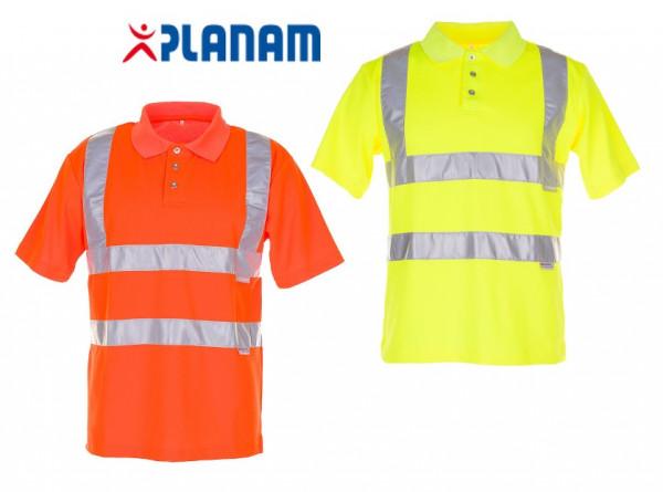 Planam Warnschutz Poloshirt uni Arbeitsshirt Arbeitspolo Größe S - 4XL