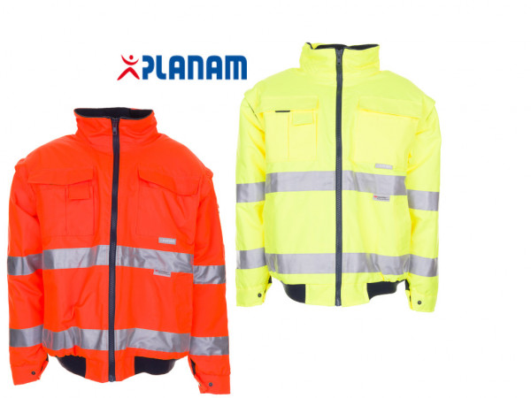 Planam Warnschutz Pilotenjacke Arbeitsjacke Größe S - 4XL, in 2 Farben