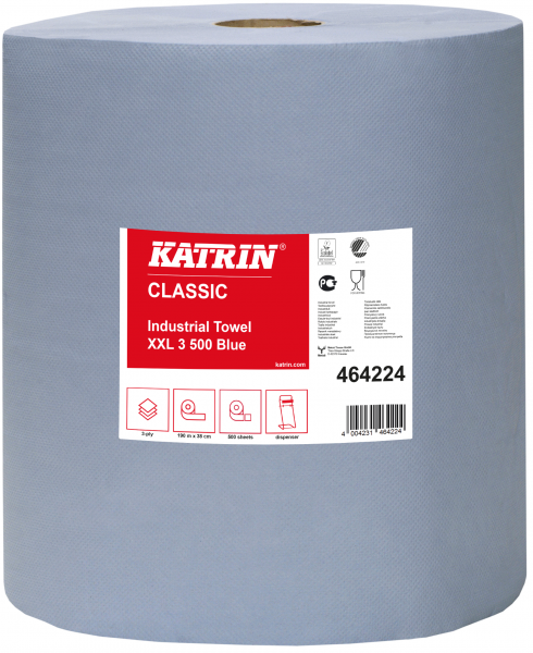 Katrin Classic Putzpapierrolle 3-lg. PPP-blau 38cm - 464224