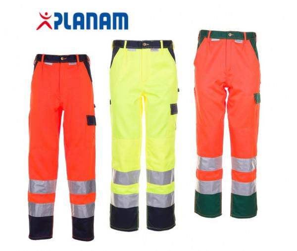 Planam Warnschutz Bundhose Arbeitshose 2-farbig Größe 24 - 110, in 3 Farben