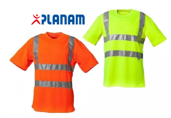 Planam Warnschutz T-Shirt Uni EN 471 Klasse 2 Größe S - 4XL