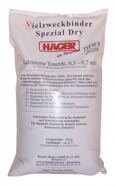 Ölbindemittel Chemikalienbindemittel Hager Spezial Dry Plus Typ IIIR Körnung 0,3-0,7 mm, 10 Kg Sac