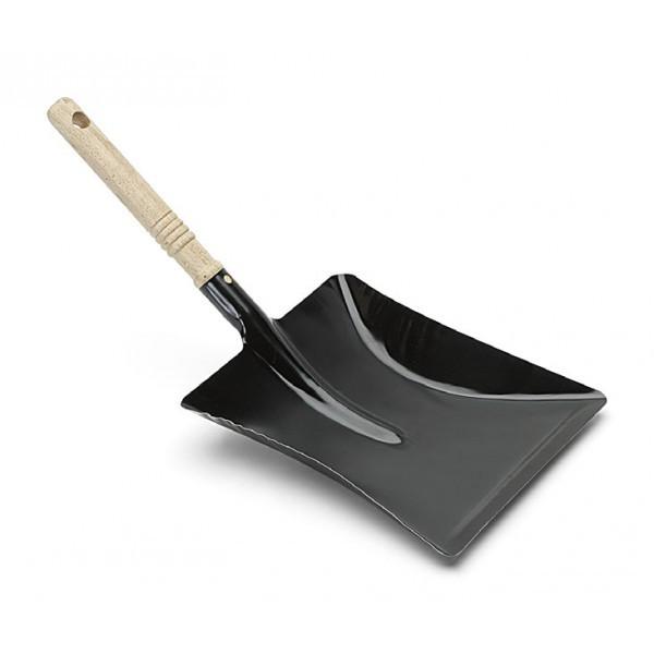 Nölle - Kehrschaufel Metall schwarz lackiert mit Holzgriff 44 x 22 cm